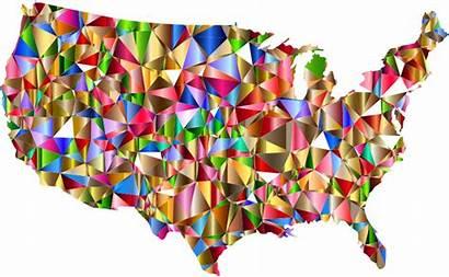 Transparent Vibrant Map Colors United Usa Colorful