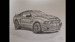 How to draw Ford Mustang- Pencil sketching - YouTube