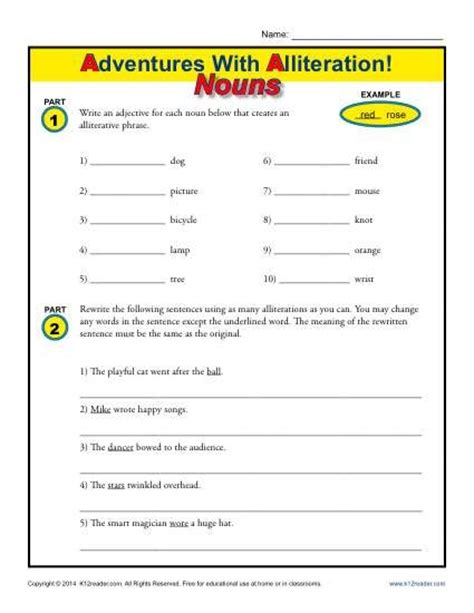 alliteration and nouns free printable worksheets