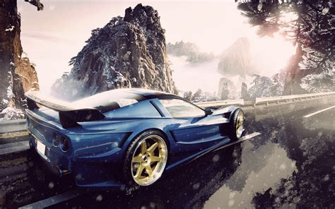 Car, Rims, Snow, Mountain, Road, Blue Cars, Chevrolet