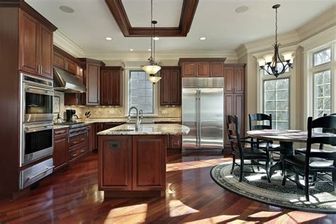 Cream and green kitchen ideas, cherry wood kitchen