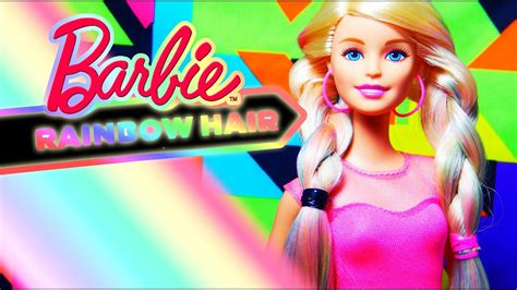 barbie rainbow hair doll review youtube