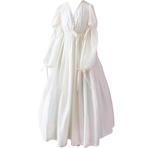 robe de chambre princesse vintage sleepwear cotton nightgown