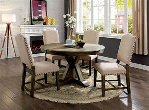 20, Valencia, 5, Piece, Round, Dining, Sets, With, Uph, Seat, Side, Chairs