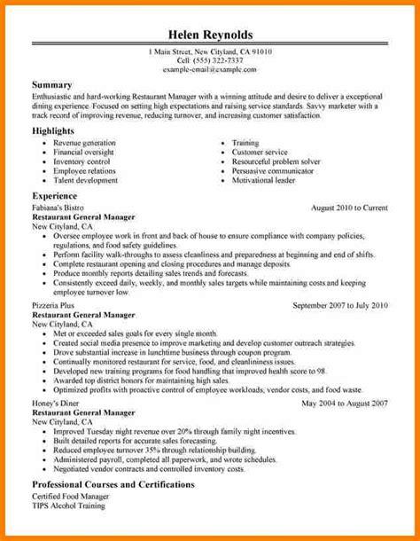 Bid Manager Resume by 6 Restaurant Manager Resume Exles Bid Template