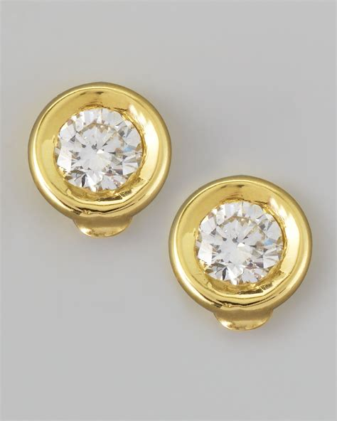 lyst roberto coin  yellow gold diamond solitaire stud