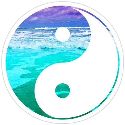 yin yang aqua water stickers by