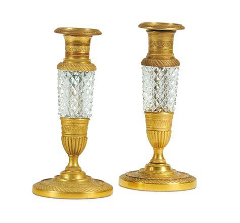 candelieri in cristallo coppia di candelieri in cristallo e bronzo dorato italia