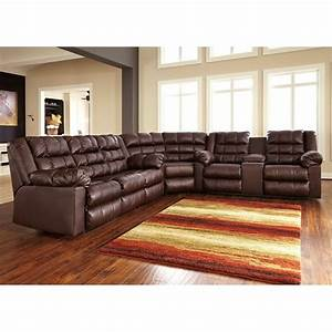 Ashley brolayne 3 piece leather corner reclining sectional for Sectional sofa with corner recliner