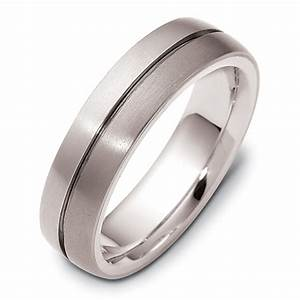 men39s brushed 18k white gold and titanium band 441 With mens brushed wedding rings