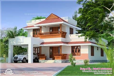 Traditional Kerala house design with a contemporary Car