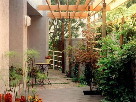 shady narrow side yard patio modern house design with wood