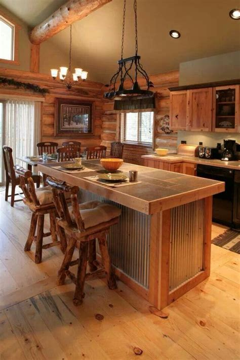 rustic cabin kitchen ideas the floors and tin on the island future home oh
