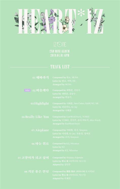 album mini heartiz milik izone  berisi delapan
