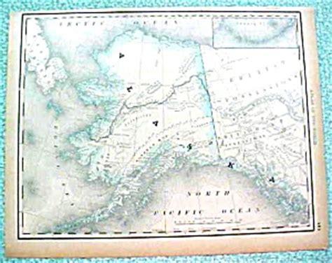 antique map alaska dtd  rand mcnally paper