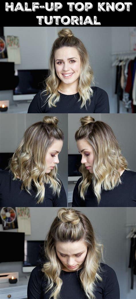 Half Up Top Knot Tutorial Short hair tutorial Wavy