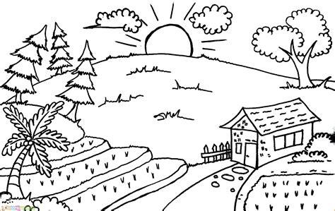 mewarnai pemandangan sketsa gambar pemandangan alam