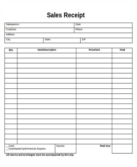 printable sales receipt sample  examples  word