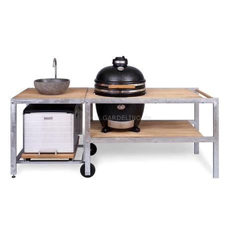 cuisine domus outdoor küche mit monolith grill spüle und kühlbox