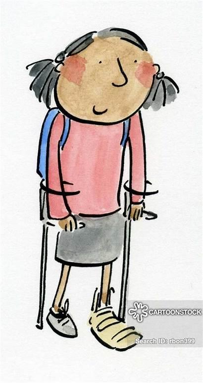 Ankle Cartoon Bruised Broken Crutches Funny Cartoons