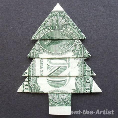 fold dollar into christmas tree dollar bill money origami tree origami trees dollar