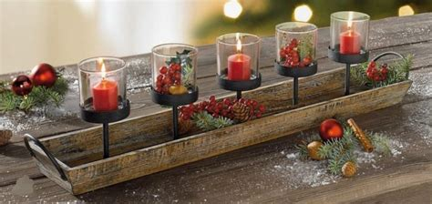 rustic wood candle centerpiece tray christmas