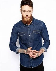lee lee western denim shirt slim fit dark rinse wash With chemise a carreaux homme swag