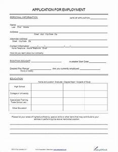 22 employment application form template free word pdf for Free employment application template
