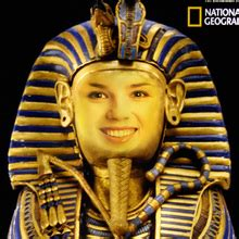 real king tut face  hole photo montage