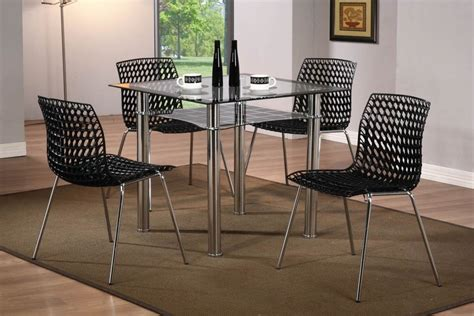 modern small square glass dining table and 4 chairs