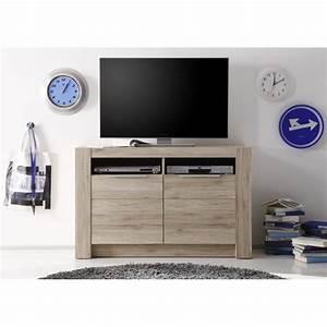 Meuble Tv Haut : le meuble tv haut cougar dispose de 2 portes et de 2 niches r alis en panneaux de particules ~ Teatrodelosmanantiales.com Idées de Décoration