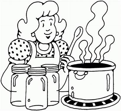 Coloring Cooking Pages Woman Printable Mom Canning