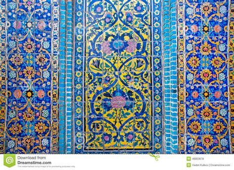 Century Tile patterns on a crumbling tile of beautiful persian palace