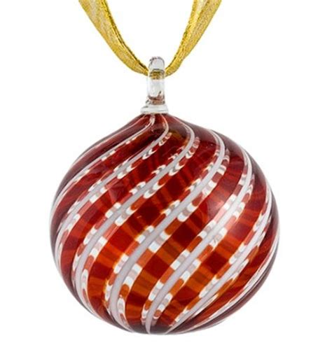 red and white striped murano glass christmas ornament