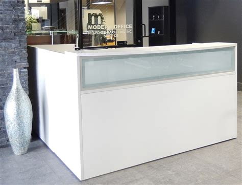 white reception desk l shaped white reception desk w frosted glass panel