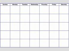 Blank Calendar schedule template free