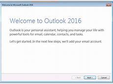 Microsoft Outlook 2016 Configuration Firsttime setup