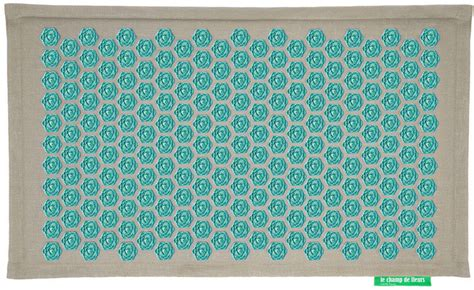 tapis ch de fleurs pranamat naturel turquoise forme zen