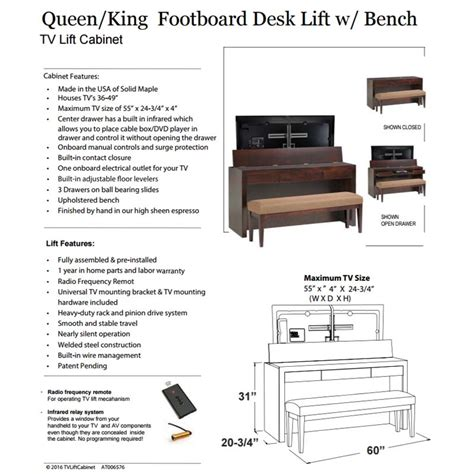 Footboard Tv Stand by Tv Lift Cabinet Footboard Tv Lift Desk With Bench