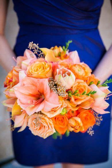 Coral Orange Gold Bouquet Gold Navy Orange