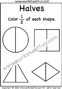 beginner fractions worksheets free printable preschool kindergarten kindergarten math