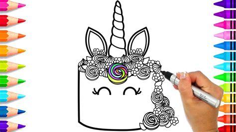 draw  unicorn cake  kids rainbow unicorn cake coloring page  nerdy nummies