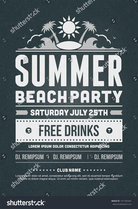 retro summer party design poster flyer stock vector
