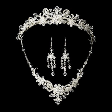 Bridal Jewelry silver bridal jewelry set and tiara of swarovski