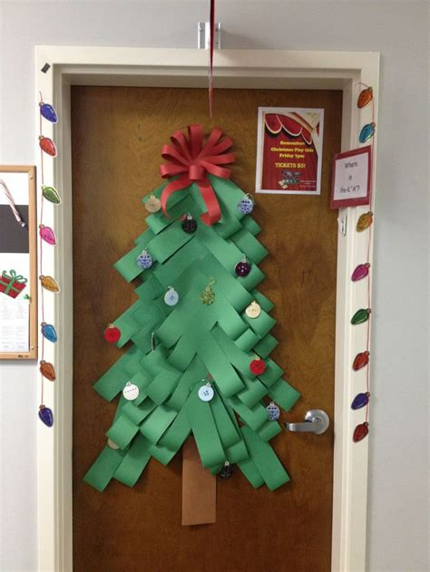paper christmas tree bulletin board woven craft paper tree door decorations school doors classroom decor