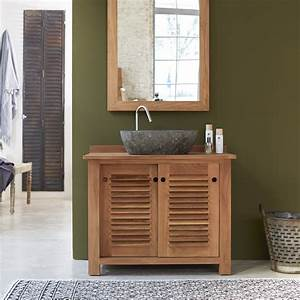 meubles salle de bain en teck meuble sous vasque coline solo With porte de douche coulissante avec meuble salle de bain en bois double vasque
