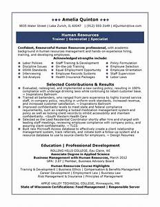 Sample human resources resume sample resumes for Human resources resume sample