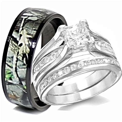 wedding rings sets camo his titanium camo hers sterling silver wedding rings camouflage black 3pcs ebay