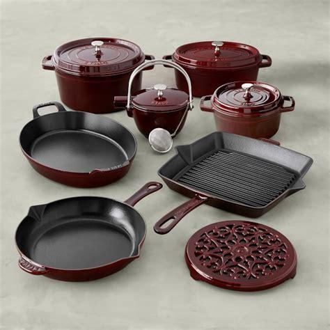 staub cast iron  piece cookware set williams sonoma