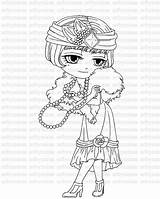 Coloring Flapper Stamp Digital Pages 1920 Digi Eyed Stamps Getcolorings Printable 1920s Line Card Supply Craft Sold sketch template